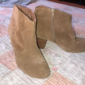 Tan suede ankle booties